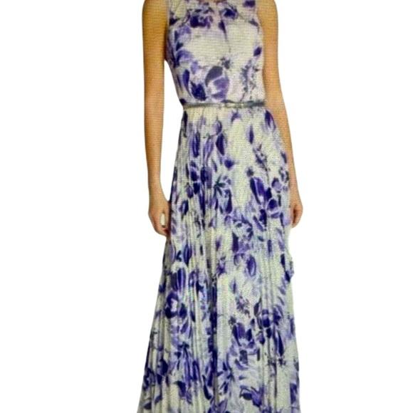Eliza J Purple Belted Print Chiffon Maxi NWT